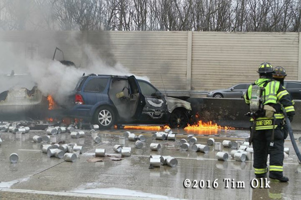 SUV burns on highway after crash