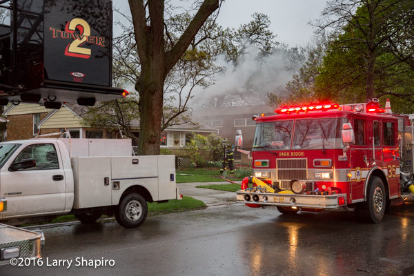 Pierce fire engine at house fire