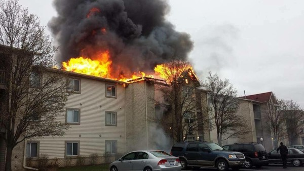 Apartment building fire in Merrillville, IN 4--16.