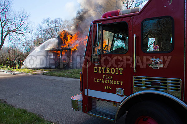 Detroit fire engine at fire scene