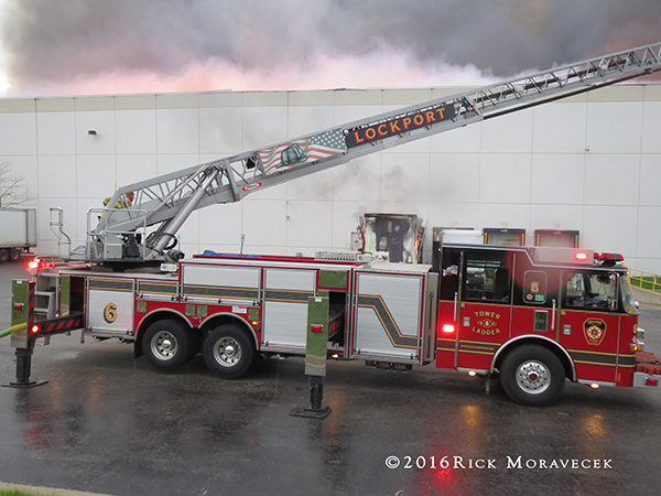 Lockport Township FPD aerial truck at a fire
