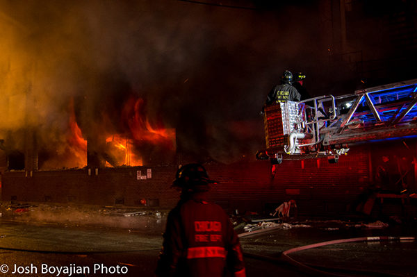 Chicago firefighters at warehouse fire