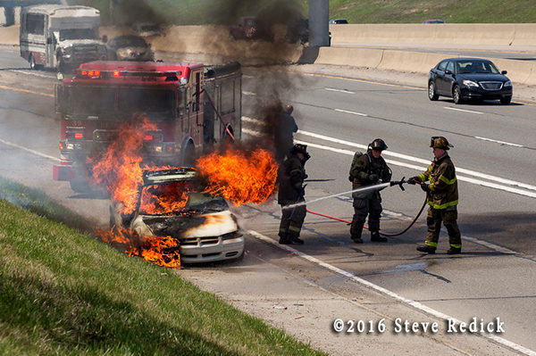 car fire in the highway