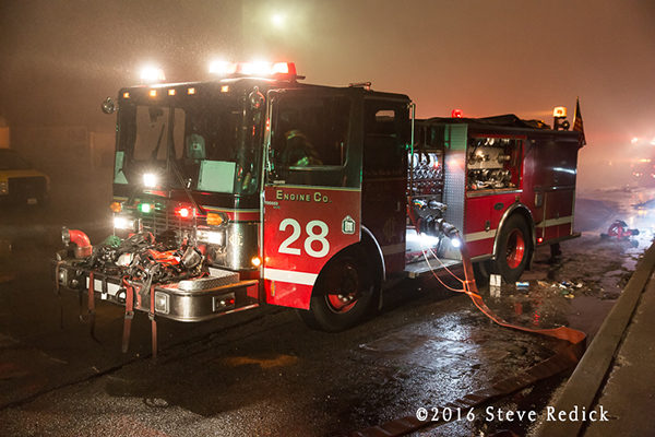 Chicago FD Engine 28 at a fire scene