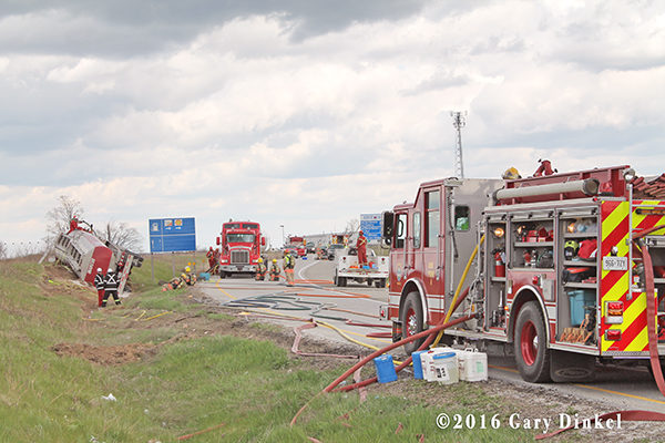 North Dumfries fire trucks at crash site