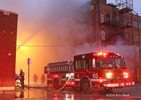 Chicago FD Engine 65 at a fire scene