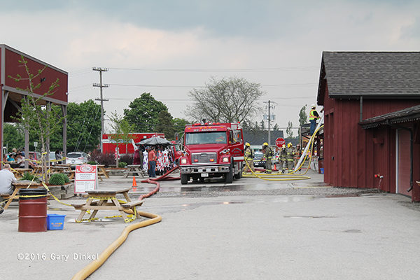 fire scene in Woolwich Township Ontario at the St Jacobs Farmer's Market