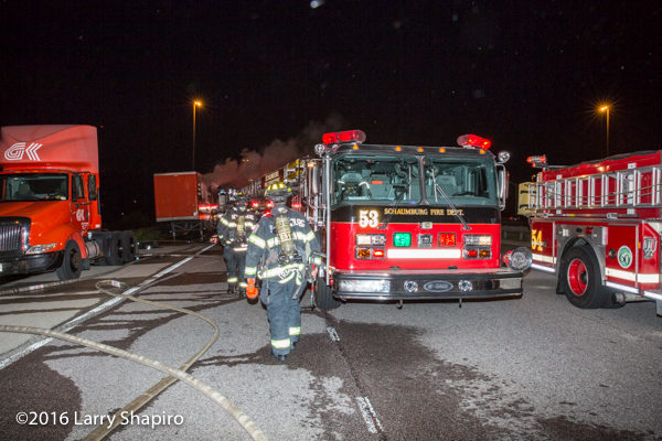 Schaumburg firefighters on scene at night