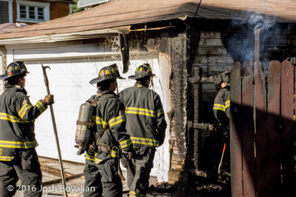 Cicero firefighters after garage fire