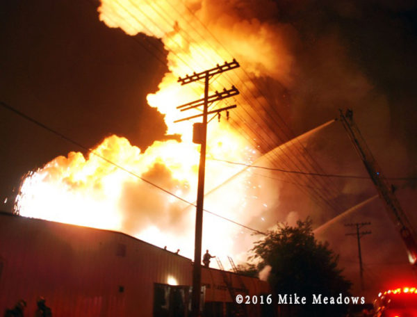 a magnesium-fueled fire in an industrial park
