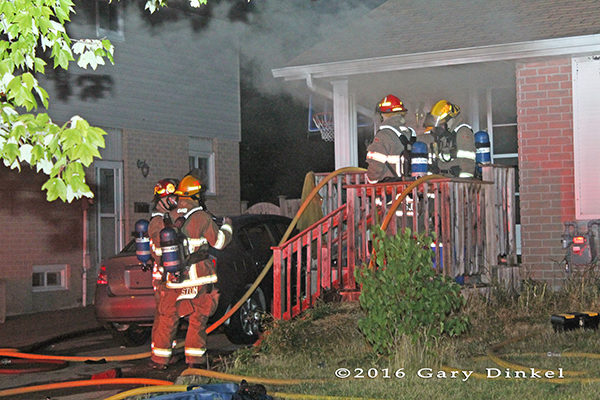 Kitchener Ontario firefighters at a house fire