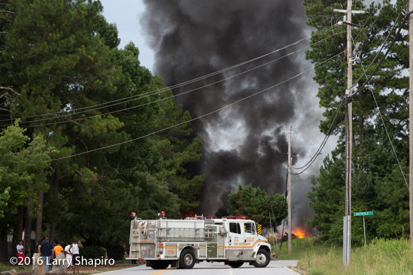 Clayton County fire engine at truck fire scene