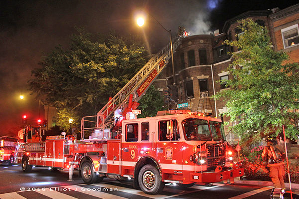 DCFD Truck 9 at a fire scene