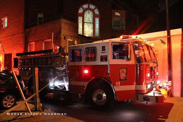 DCFD Engine 9 at a fire scene