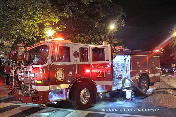 DCFD Engine 21 at a fire scene