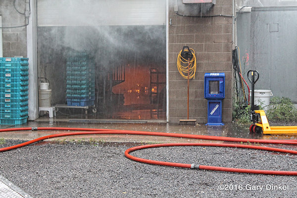smoke from overhead door during a fire