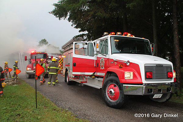 Freightliner fire engine at fire scene