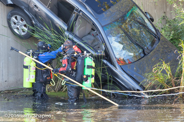 fire department divers rescue trapped victim in a car