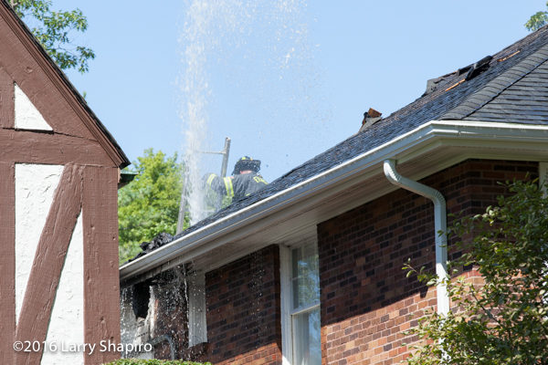 water coming through roof from hose line