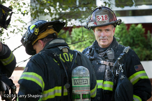 Skokie FD Lieutenant after battling a fire