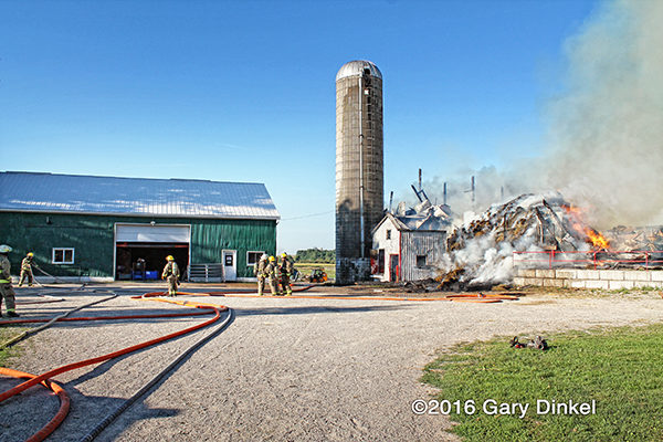 barn and silo destroyed by fire in Canada