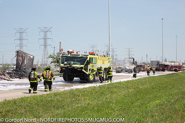 CFD airport crash truck at semi crash on a highway