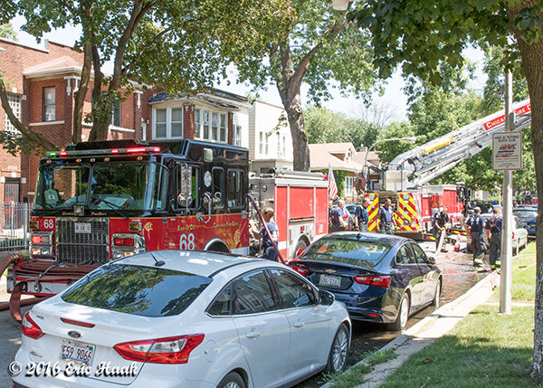 Chicago fire trucks at a fire scene