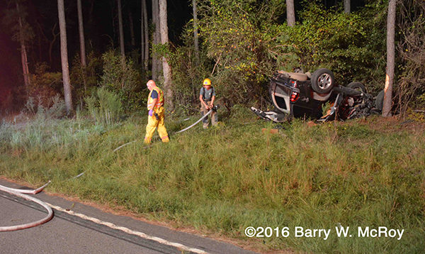 rural crash site with SUV