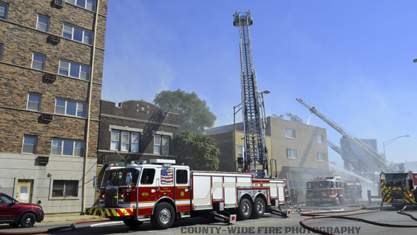 Oak Park Fire Department tower ladder at work