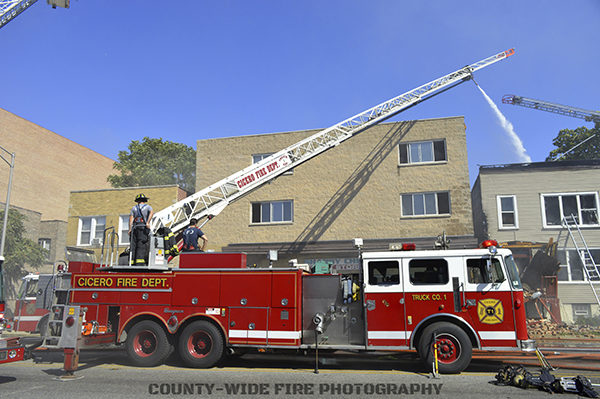 Cicero Fire Department Seagrave truck at work
