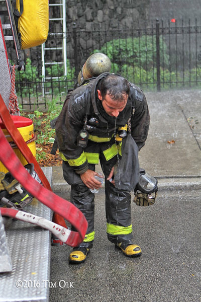 firefighter tries to call down after a fire