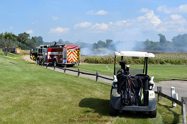 brush fire along golf course