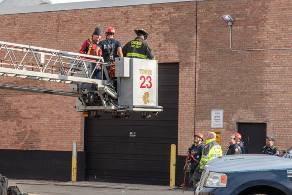 Chicago firefighters help worker trapped on water tower