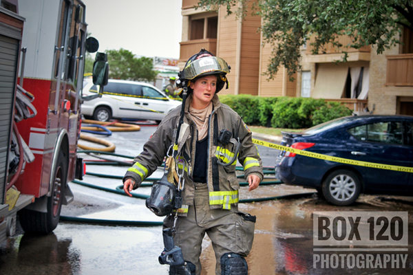 female firefighter after battling a fire