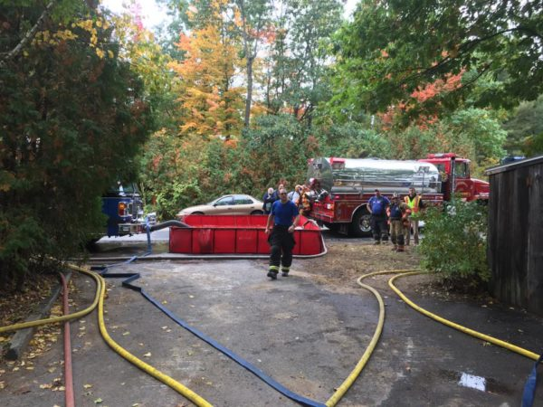 rural water supply at fire with portable tank