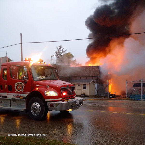 restaurant destroyed by fire in Wilmot Township Ontario