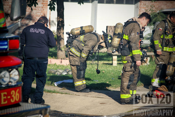 San Antonio firefighters after battling a house fire