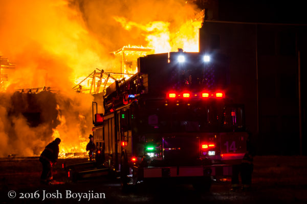 E-ONE tower ladder at massive fire