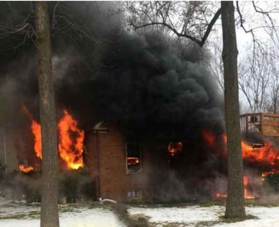 house destroyed by fire in Broadview IL