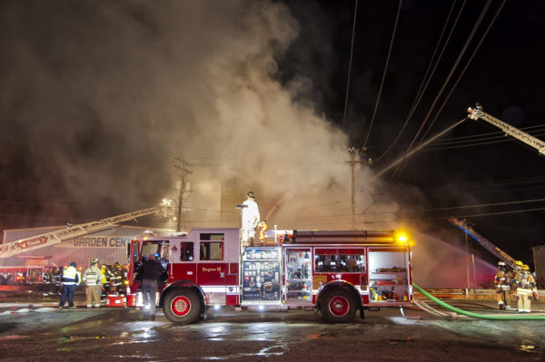 master stream from fire engine at warehouse fire