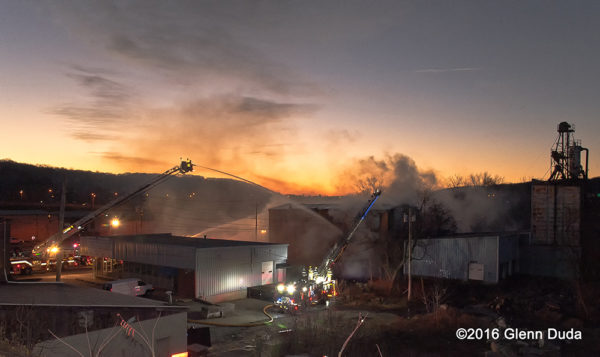 warehouse fire at dawn