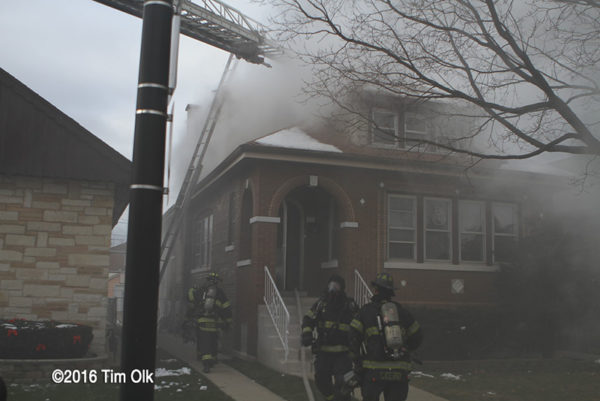 Chicago style bungalow on fire