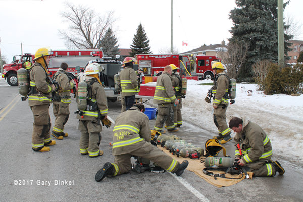 Canadian firefighters at fire scene