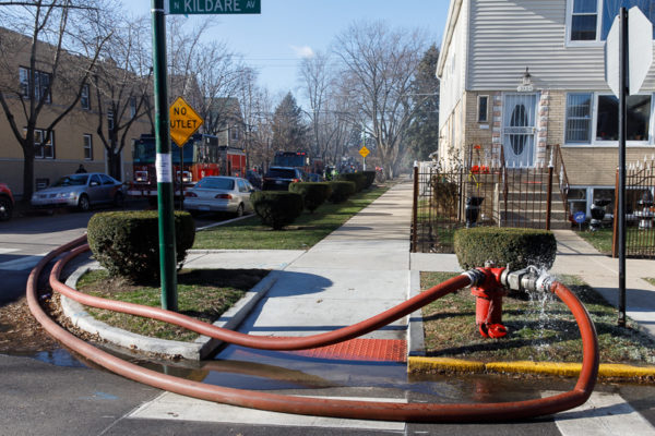 large diamter hose (LDH) hooked to hydrant