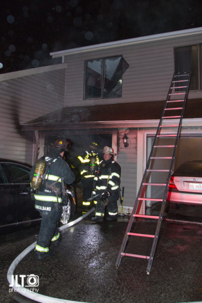 aftermath of townhouse garage fire