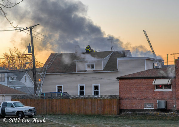 smoke from house fire at dawn