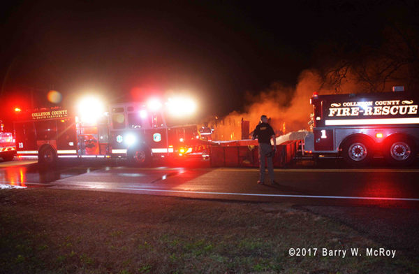 Colleton County Fire Rescue battles barn fire at night