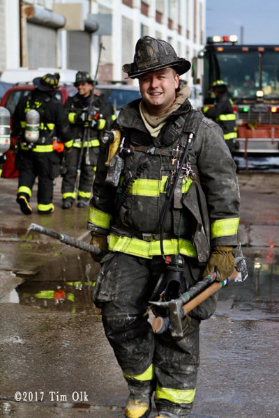 Chicago Firefighter with PPE & tools