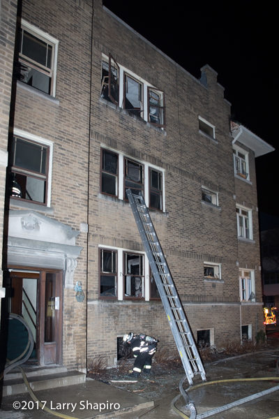 aftermath of apartment building fire