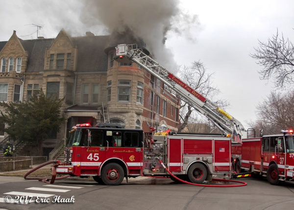Chicago FD Engine 45 at fire scene